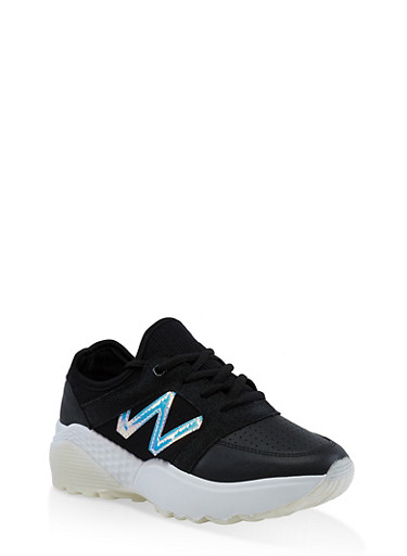 White Sole Lace Up Athletic Sneakers,BLACK,large