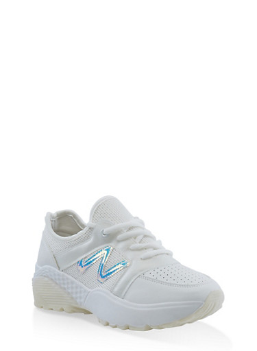 White Sole Lace Up Athletic Sneakers,WHITE,large