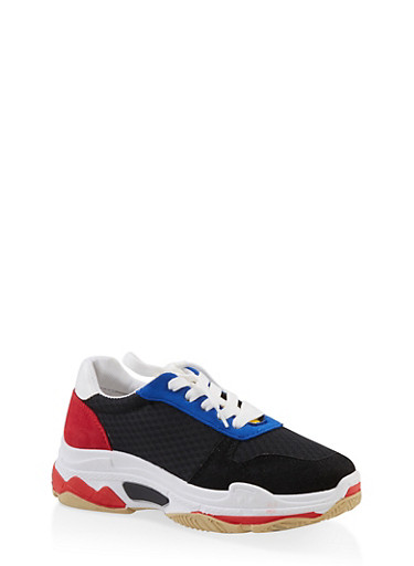 Multi Color Lace Up Sneakers,BLACK,large