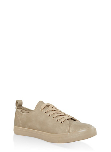 Faux Suede Lace Up Sneakers,GOLD,large