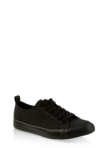 Faux Leather Lace Up Tennis Sneakers,BLACK,large