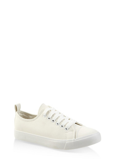 Faux Leather Lace Up Tennis Sneakers,WHITE,large