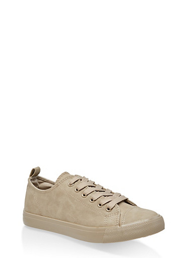 Faux Leather Lace Up Tennis Sneakers,STONE,large