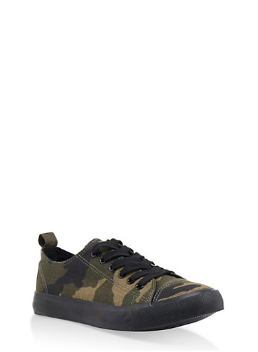 Lace Up Sneakers | 3114062720304,CAMOUFLAGE,large