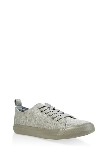Lace Up Canvas Sneakers,GRAY,large