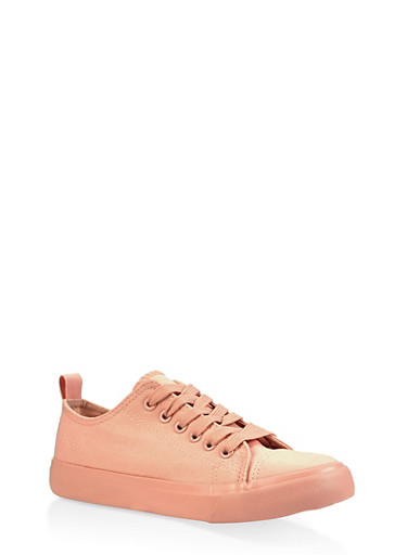 Lace Up Canvas Sneakers,ROSE,large