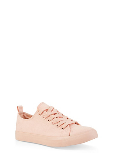 Lace Up Canvas Sneakers,BLUSH,large