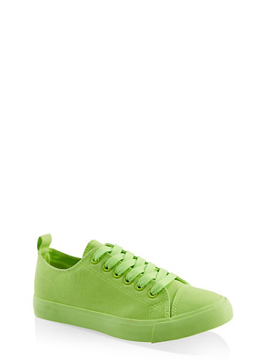 Lace Up Canvas Sneakers,NEON LIME,large