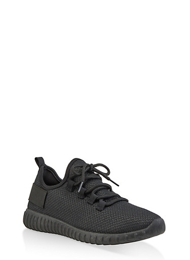 Textured Knit Athletic Sneakers | 3114062723342,BLACK,large