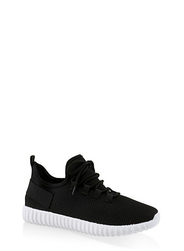 Textured Knit Athletic Sneakers   3114062723342,BLACK/WHITE,large