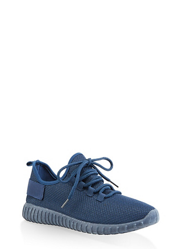 Textured Knit Athletic Sneakers | 3114062723342,NAVY,large