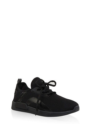 Knit Lace Up Athletic Sneakers,BLACK,large