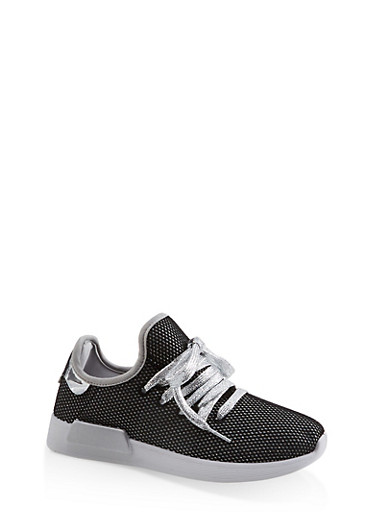 Mesh Lace Up Sneakers,SILVER,large