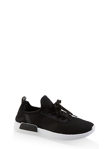 Knit Lace Up Athletic Sneakers | 3114062723476,BLACK/WHITE,large
