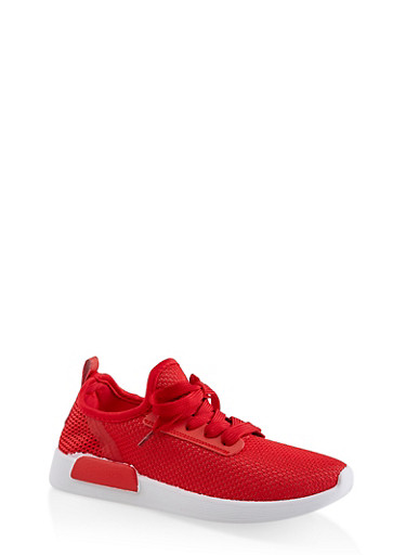 Knit Lace Up Athletic Sneakers | 3114062723476,RED,large