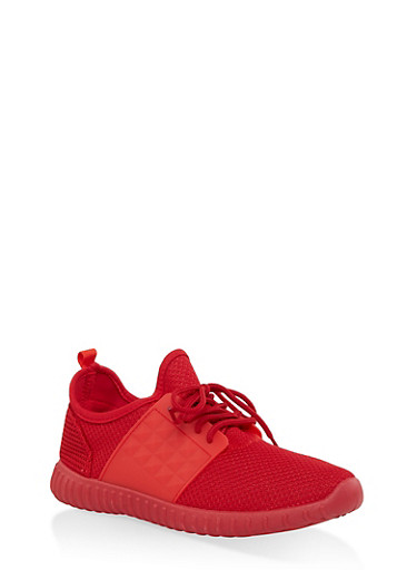 Knit Lace Up Sneakers,RED,large