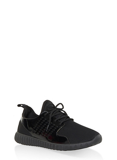 Perforated Knit Lace Up Sneakers,BLACK,large