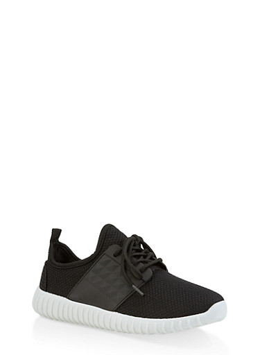 Knit Athletic Sneakers,BLACK,large