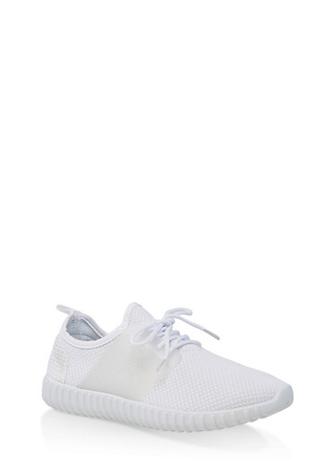 Knit Athletic Sneakers,WHITE,large