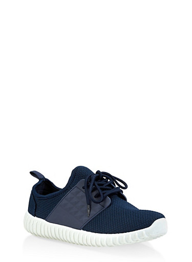 Knit Athletic Sneakers,NAVY,large