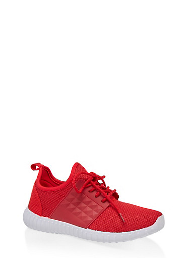 Knit Athletic Sneakers,RED,large