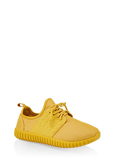 Knit Athletic Sneakers,YELLOW,large