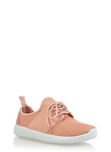 Knit Athletic Sneakers,BLUSH,large
