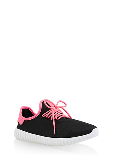 Contrast Trim Lace Up Sneakers,NEON PINK,large