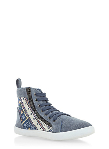 Aztec Print High-Top Sneakers with Size Zip Accent,BLUE DENIM,large