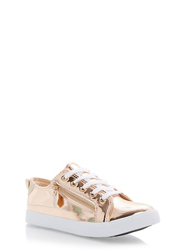Lace Up Sneakers with Zipper Detail,ROSE GOLD,large