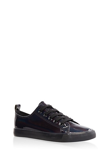 Iridescent Lace Up Sneakers,BLACK,large