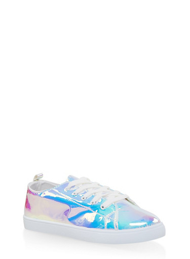 Iridescent Lace Up Sneakers,WHITE,large