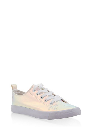 Iridescent Lace Up Sneakers,MULTI COLOR,large