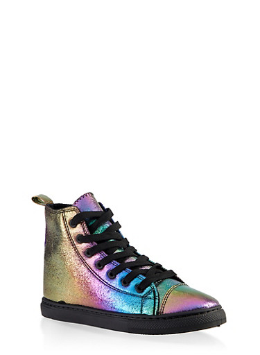 Printed Lace Up High Top Sneakers,BRIGHT MULTI S,large