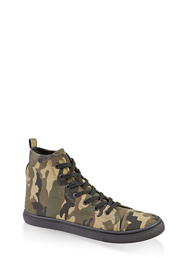 Printed Lace Up High Top Sneakers,CAMOUFLAGE,large