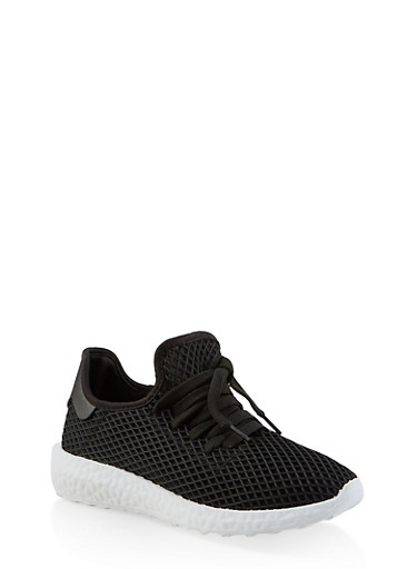 Fishnet Lace Up Sneakers,BLACK,large