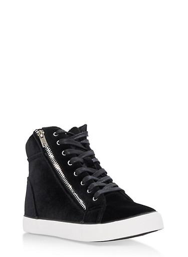 Velvet Lace Up High Top Sneakers,BLACK VELVET,large