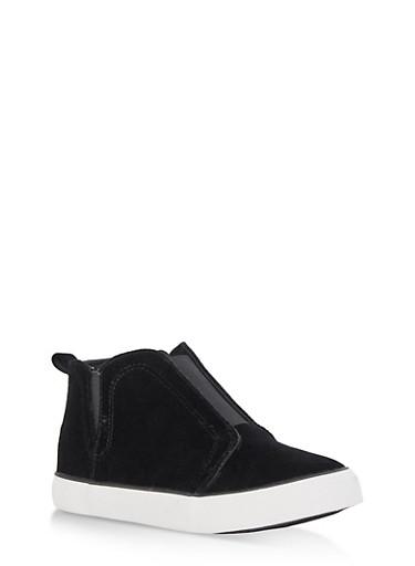 Velvet Slip On High Top Sneakers,BLACK VELVET,large