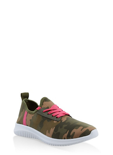 Camo Lace Up Sneakers,OLIVE,large