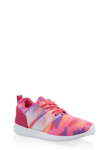 Camo Mesh Athletic Sneakers,PINK,large