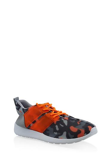 Camo Mesh Athletic Sneakers,ORANGE,large