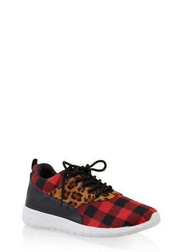 2c8ced41ca750 Leopard Plaid Lace Up Sneakers