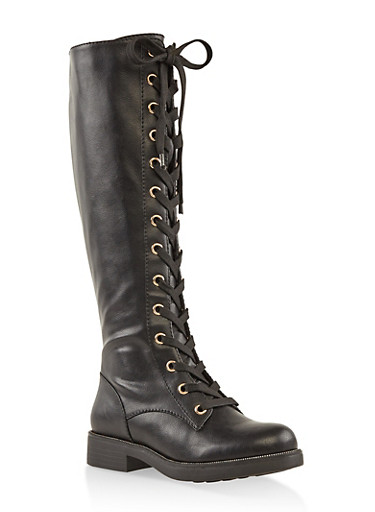 Tall Lace Up Combat Boots,BLACK,large