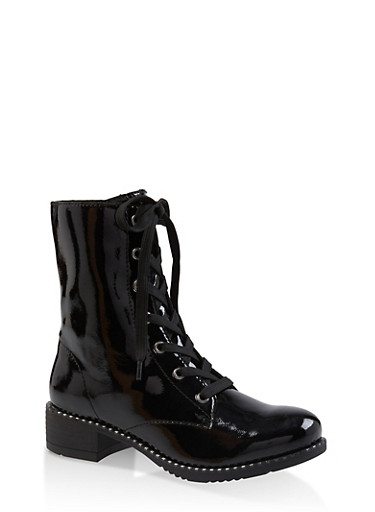 Studded Sole Lace Up Booties,BLACK,large