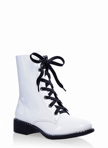 Studded Sole Lace Up Booties,WHITE,large