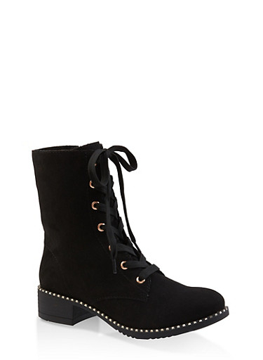 Studded Sole Lace Up Booties,BLACK SUEDE,large
