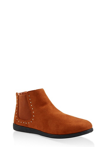 Studded Ankle Booties,CHESTNUT,large