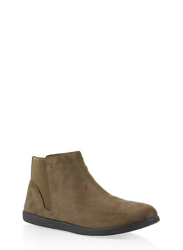 Elastic Trim Ankle Booties,OLIVE,large