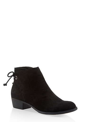 Lace Up Back Booties,BLACK SUEDE,large