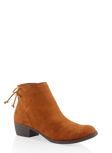 Lace Up Back Booties,CHESTNUT,large
